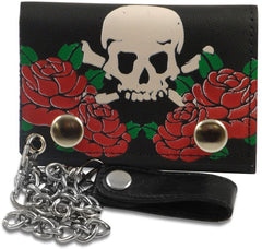 Red Rose Skull & Cross Bones Genuine Leather Chain Wallet
