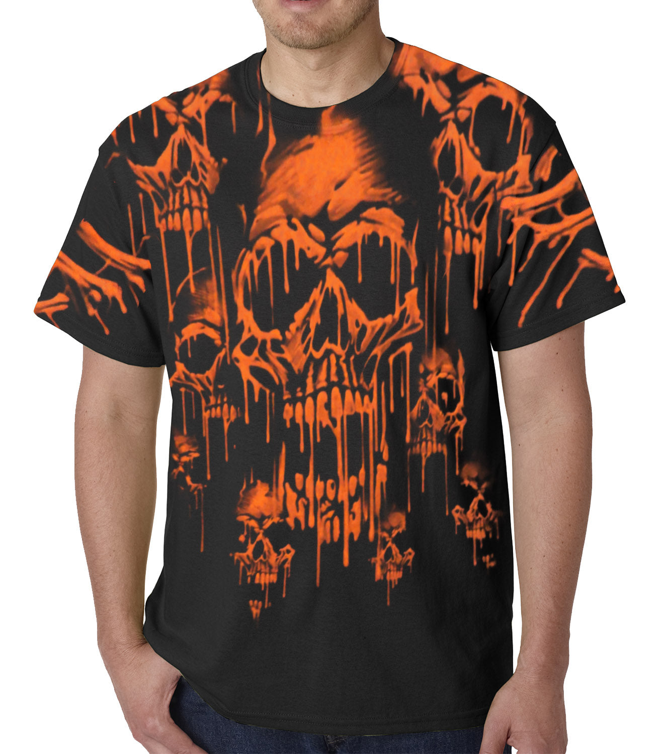 Red Skulls Acid Rain Mens T-shirt