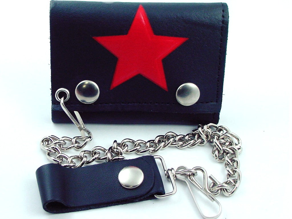 Red Star Genuine Leather Chain Wallet