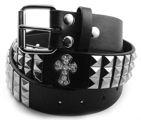 Rhinestone Crosses and Pyramid Studded Leather Belt