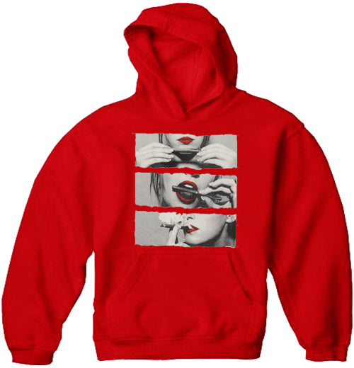 Roll, Lick, & Light it Up (Red Lips) Adult Hoodies