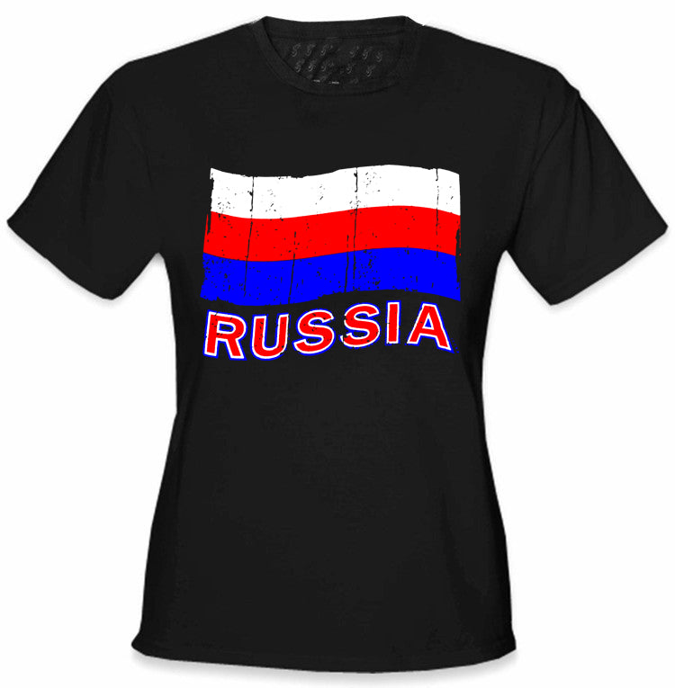 Russia Vintage Flag Girl's T-Shirt