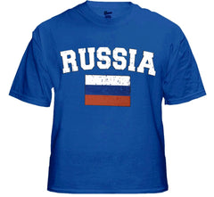 Russia Vintage Flag International Mens T-Shirt