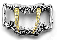 Sabertooth Gold Fang Belt Buckle With FREE Leather Belt