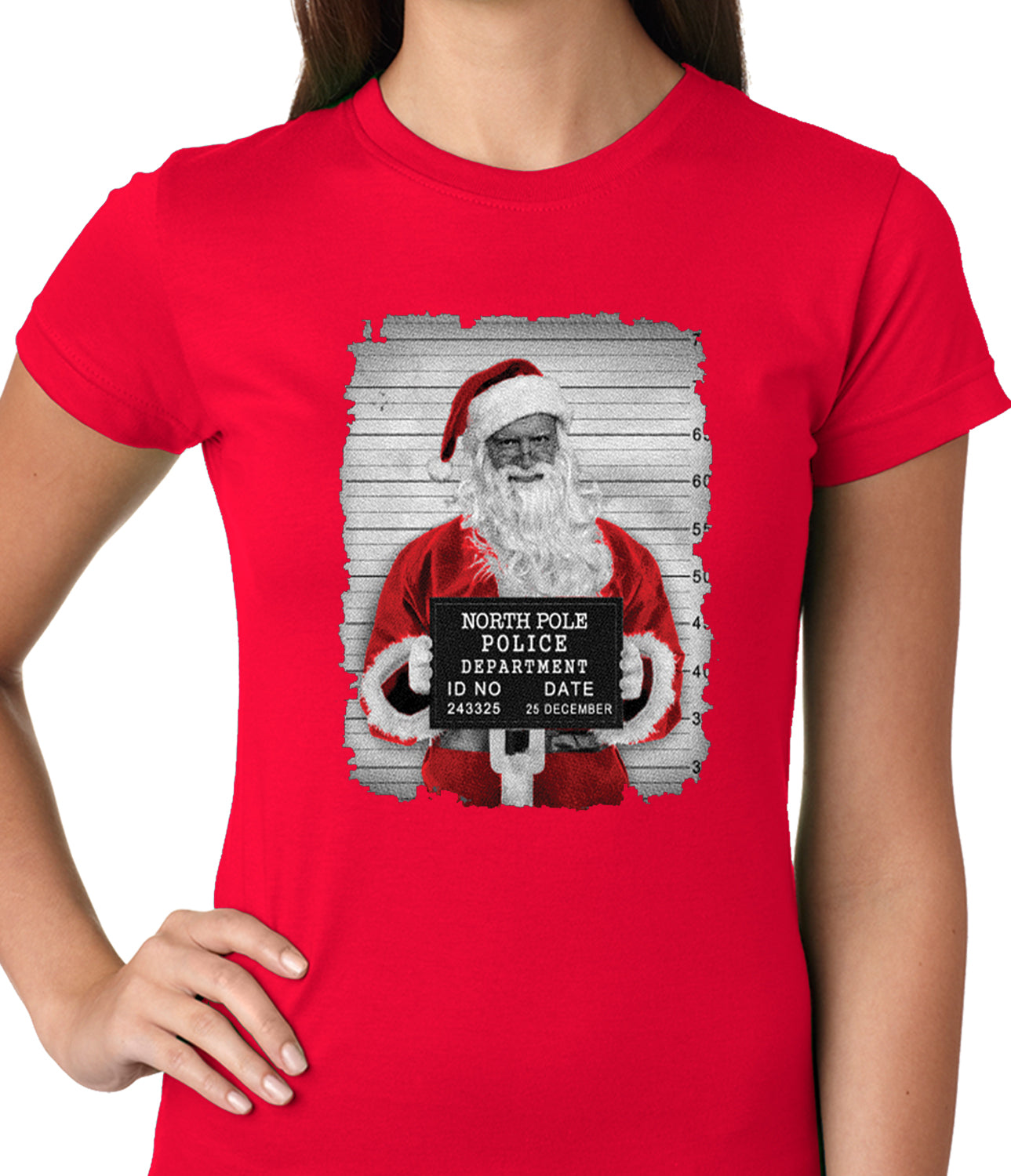 Santa Mug Shot Funny Ladies T-shirt