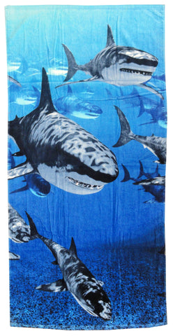School of Great White Sharks Beach Towel