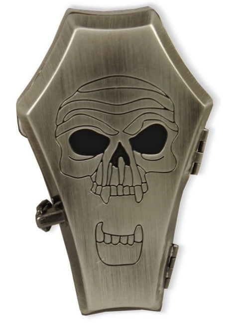 Screaming Skull Coffin Belt Buckle With FREE Leather Belt