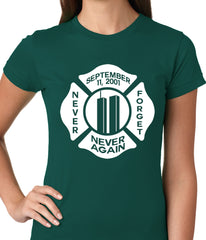 September 11, 2001 Never Forget, Never Again Ladies T-shirt