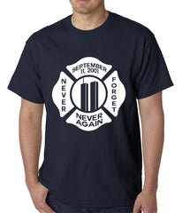 September 11, 2001 Never Forget, Never Again Mens T-shirt