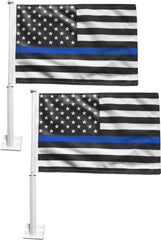 Set of 2 Blue Line American Flag Car Window Flags