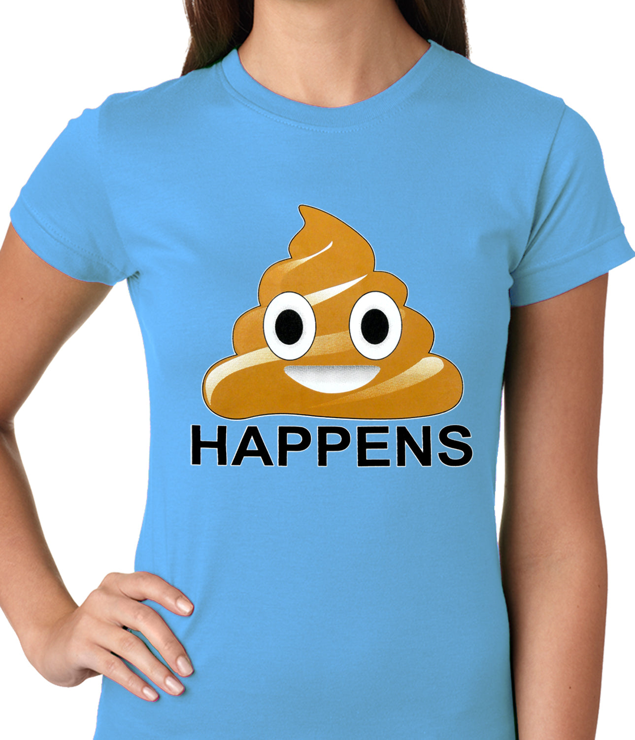 Sh*t Happens Funny Emoji Ladies T-shirt