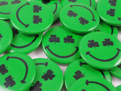 Shamrock Smiley Face Buttons ( 12 Pack )