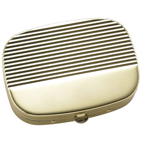 Shiny Gold Ribbed Cover with 3 Compartment Pill Box & Mirror