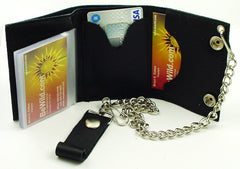 Silver Cross Genuine Leather Chain Wallet
