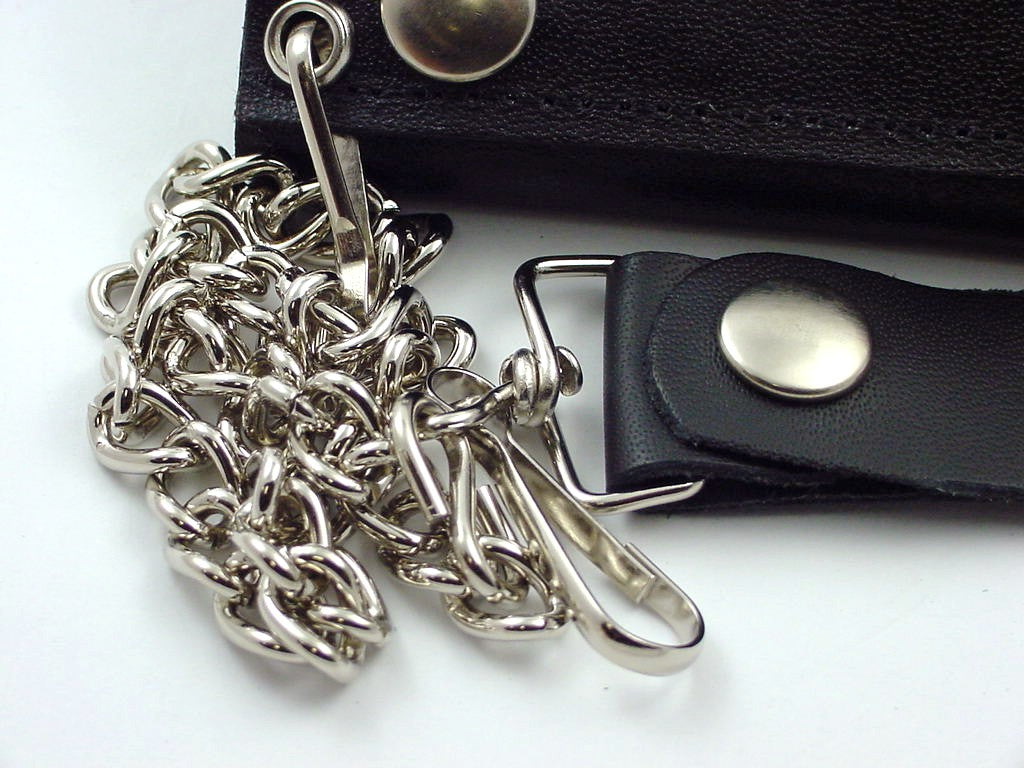 Silver Dragon Genuine Leather Chain Wallet