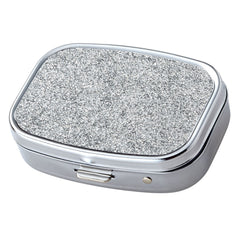 Silver Glitter Pattern with Mirror Iron Chrome Plated Rectangular 2 Compartment Pill Box