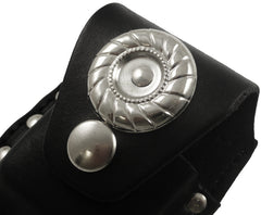 Silver Medallion and Studs Genuine Leather Zippo Pouch