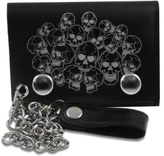 Genuine Leather Chain Wallet with Silver Skull Heads