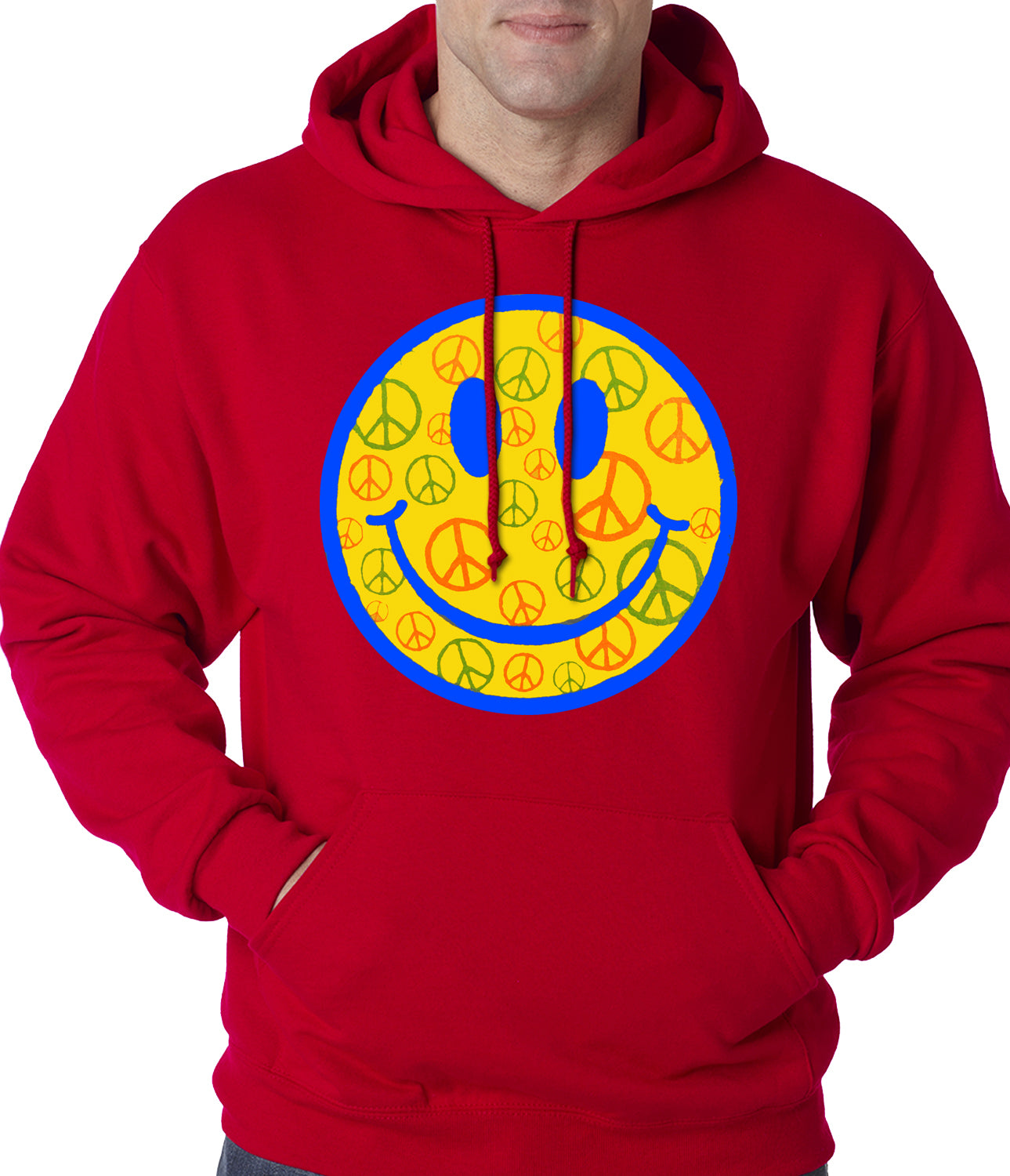 Smiley Face Peace Signs All Over Adult Hoodie