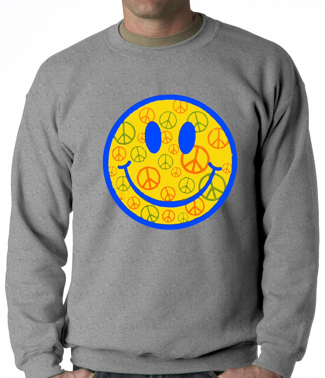 Smiley Face Peace Signs All Over Crewneck Sweatshirt