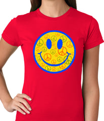Smiley Face Peace Signs All Over Girls T-shirt