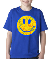 Smiley Face Peace Signs All Over Kids T-shirt
