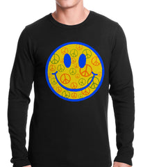 Smiley Face Peace Signs All Over Thermal Shirt