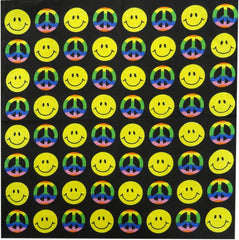 Smiley Face Tie Dye Peace Sign Bandanna