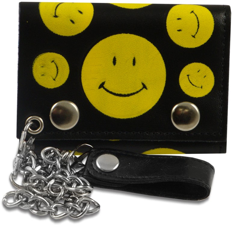 Smiley Faces Genuine Leather Chain Wallet