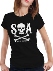 SOA Men Of Mayhem Skull and Crossbones Girl's T-Shirt (Black)