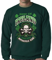 Sons of Ireland Shamrock Skull Biker Crewneck