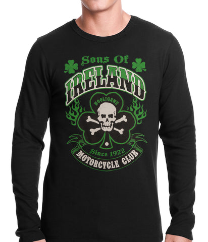 Sons of Ireland Shamrock Skull Biker Thermal Shirt