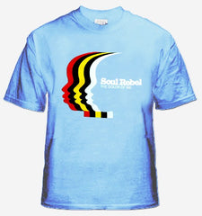 Soul Rebel The Color Of We Faces Men's T-Shirt (Light Blue)