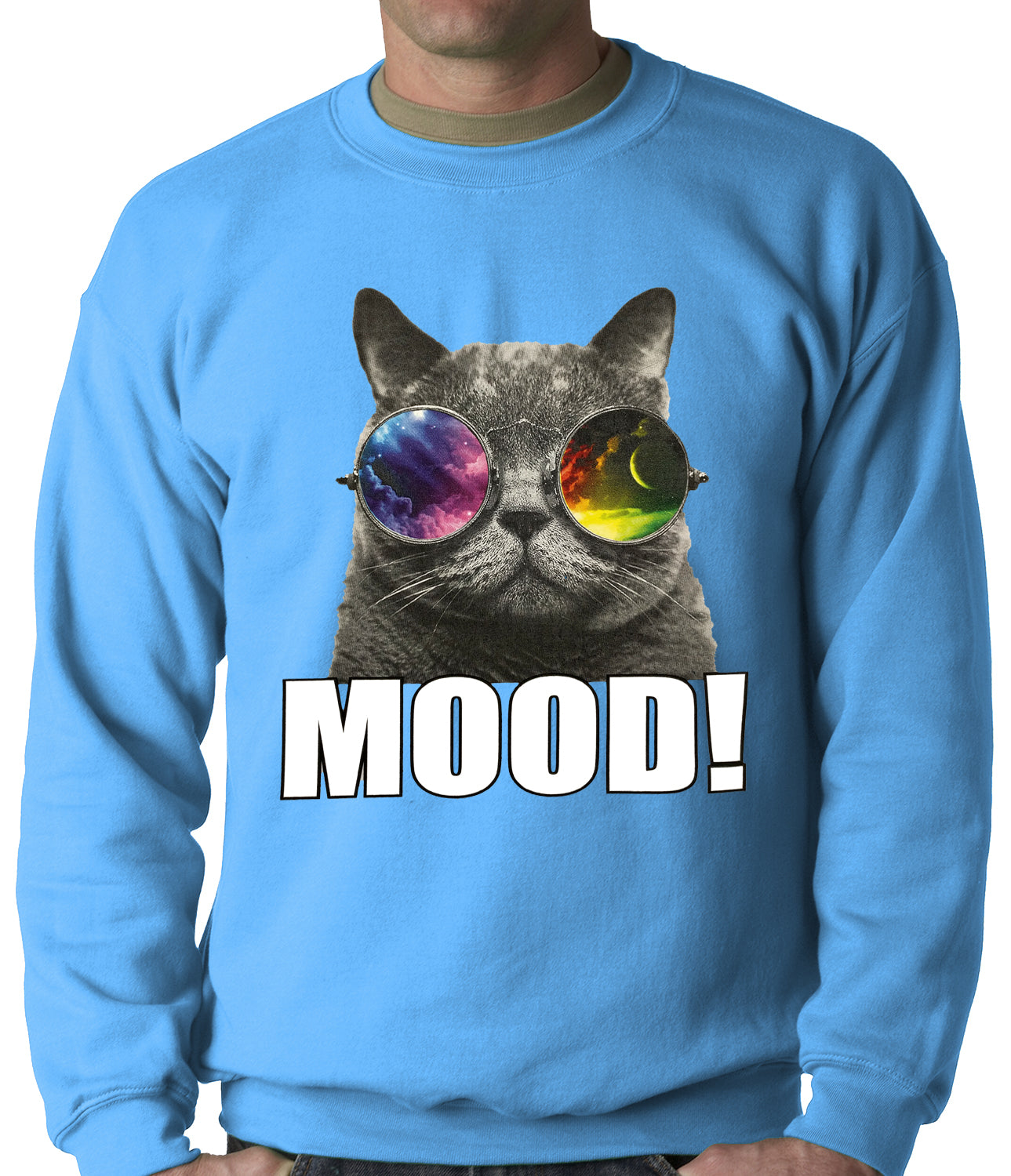 Spaced Mood Cat Adult Crewneck