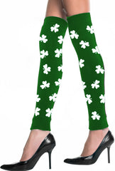 St. Patrick's Day All Over Shamrocks Leg Warmers (Green with White Shamrocks)
