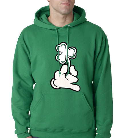 St. Patrick's Day Cartoon Hand Holding Shamrock Adult Hoodie