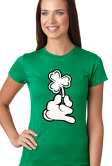 St. Patrick's Day Cartoon Hand Holding Shamrock Girls T-shirt