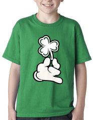 St. Patrick's Day Cartoon Hand Holding Shamrock Kids T-shirt