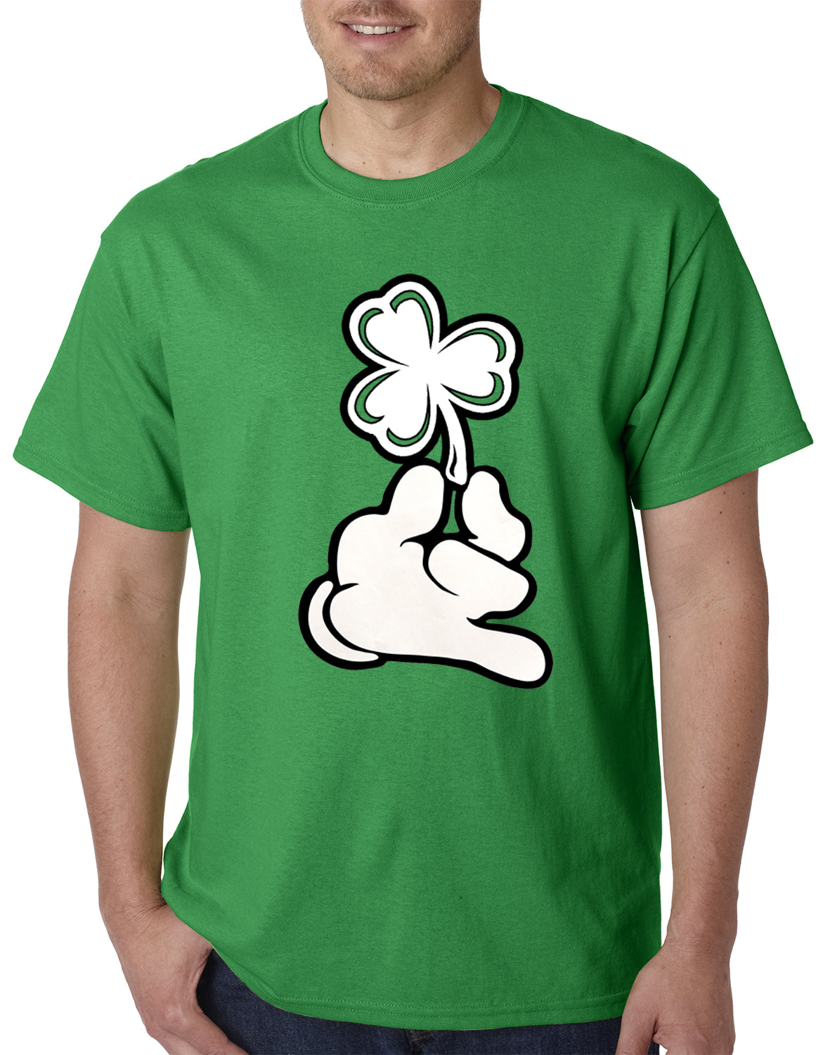 St. Patrick's Day Cartoon Hand Holding Shamrock Mens T-shirt