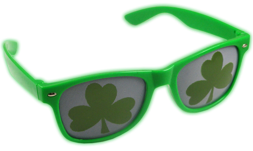 St. Patrick's Day Green Wayfarer Shamrock Sunglasses
