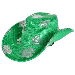 St. Patrick's Day Irish Green Shamrock Sequin Cowboy Hat