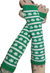 St. Patrick's Day (STRIPES & SHAMROCKS) Pair of Arm Warmers