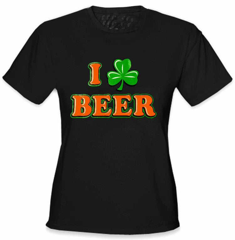 26566e72 St. Patrick's Day Tees - I Love Beer Shamrock Girls T-Shirt – Bewild