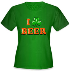 St. Patrick's Day Tees - I Love Beer Shamrock Girls T-Shirt