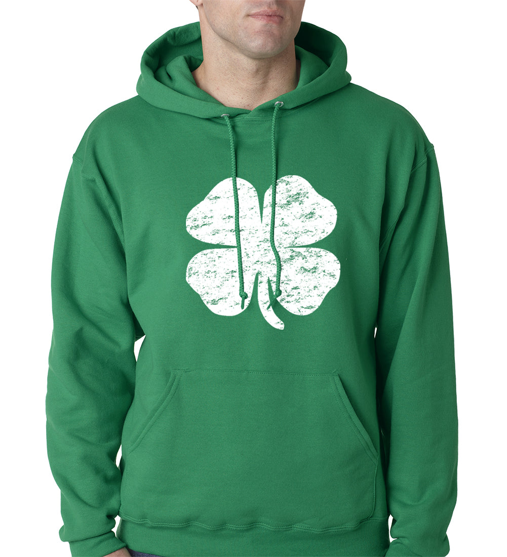 St. Patrick's Day Vintage Distressed 4 Leaf Clover Adult Hoodie