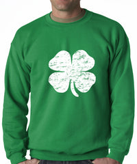 St. Patrick's Day Vintage Distressed 4 Leaf Clover Crewneck Sweatshirt