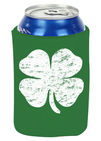 St. Patrick's Day Vintage Distressed 4 Leaf Clover Drinking Koozie (Kelly Green)