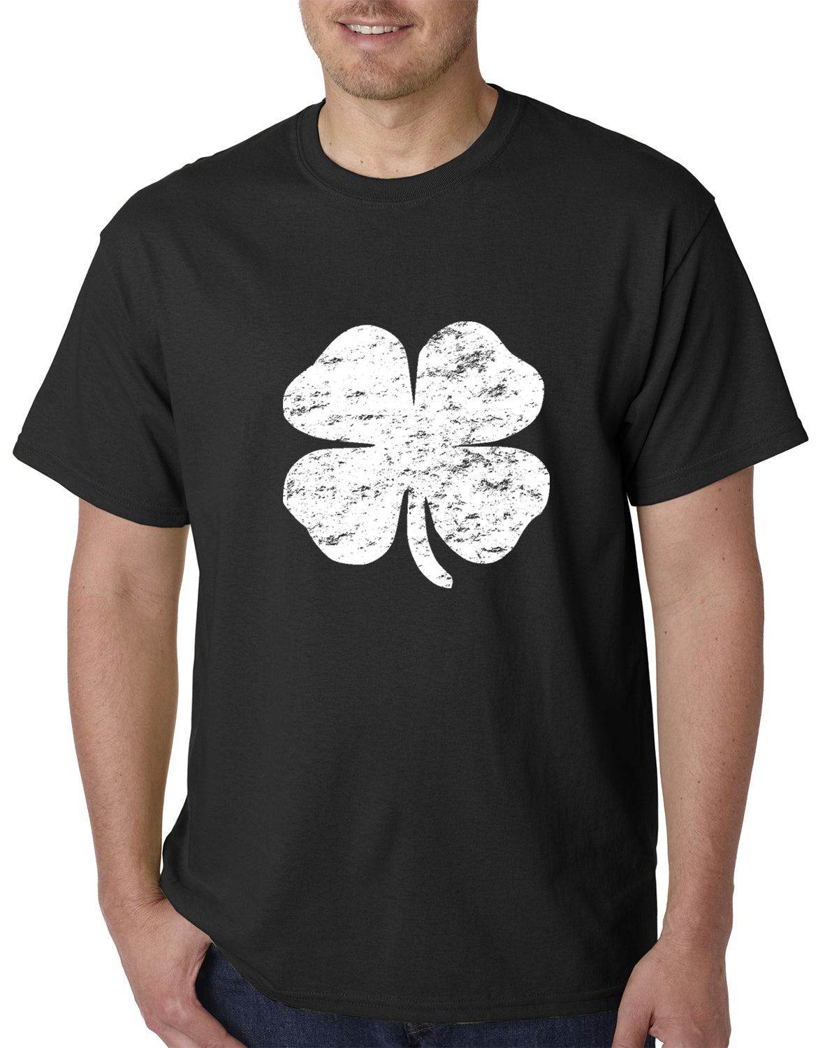 St. Patrick's Day Vintage Distressed 4 Leaf Clover Mens T-shirt