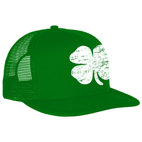 St. Patrick's Day Vintage Distressed 4 Leaf Clover Adjustable Trucker Hat (Kelly Green)