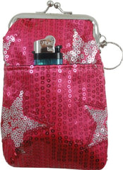 Star Studded Sequin Cigarette Purse with Lighter Holder